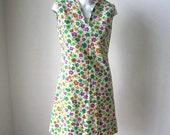 Vintage 60s 70s Floral Cotton Scooter Sun Dress Vintage Sundress Beach Dress