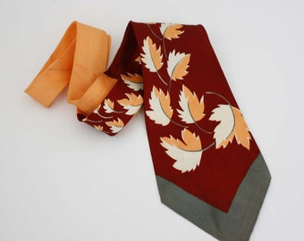 Fall Leaf Necktie - Maroon, Peach and Grey - Vintage Men's Necktie - Wide Tie
