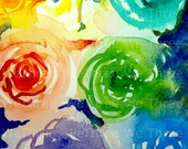 Lady Rose  -Watercolor Flowers -- Art Print -- Cabbage Rose Painting---- 8x10
