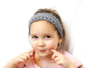 reserved for Sam: crochet hair band with knit ties for girls, women, and teens - slate blue grey, soft, all natural fibers, ready to ship