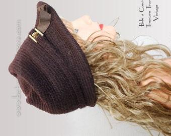Vintage 1950s Hat An Everitt Needlepoint Original Dark Chocolate Brown