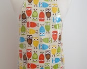 Toddler apron AGE 2-5 / Owls print laminated apron / Paint smock / Kids Kitchen