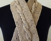 Cable Knit Scarf / Short Knit Scarf / Neutral Colors Hand Knit Scarf / Tan Ecru Taupe Knit Scarf