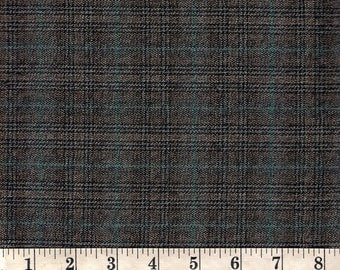 "Black/Brown/Light Brown/Blue Plaid Suiting Fabric. 57"" wide. 1 yard."