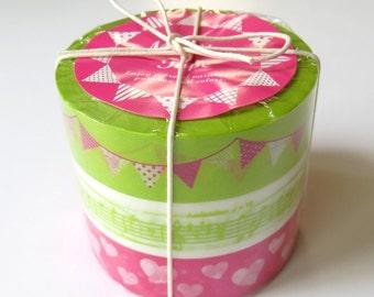 Pink and Green Washi Tape - Garland, Musical, Hearts - Japanese Washi, Tokoyo Edge, Set of 3
