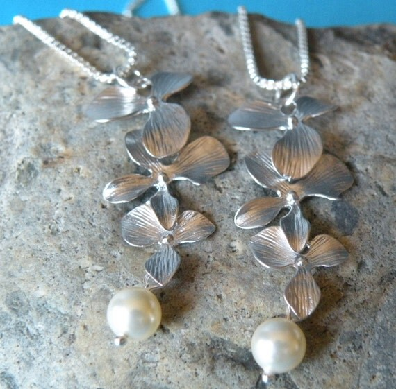 SET of 2 | Sterling Silver Orchid + Swarovski Pearl Necklaces | Unique handmade beach jewelry nature floral  wedding bridesmaid gift
