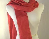 Long Red Scarf - Crinkled Silky Satin Scarf - Shiny Red Scarf - Dressy Scarf