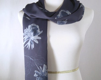 Easter - Mother's Day Blue Long Scarf  - Blue Scarf - Light Blue Flower Scarf - Blue Silky Crepe Scarf - Dressy Scarf