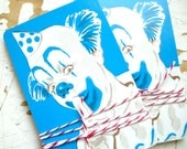 Aqua Blue Polka Dot Circus CLOWN Playing Cards, Vintage 1978, Set Of 10 Playing Cards