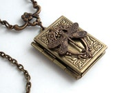Flight of the Dragonfly - Book Locket Necklace Jewelry