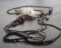 Black natural body jewelry chain with beaded shell amulet, an eye catcher, a Bodybead ...... by Strongbeads ...