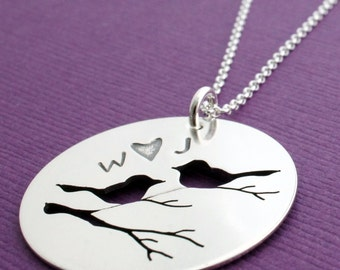 Personalized Love Bird Necklace - Couple's Initials - Hand Pierced Silhouette Design by Eclectic Wendy Designs - Jewelry Gifts for Mom