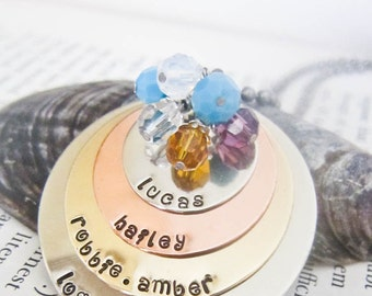 Hand Stamped Name Necklace with SIX Names - Custom Birthstone Charms - Four Discs Mother Grandmother Personalized Pendant