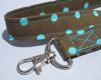 ID Badge Lanyard Turquoise aqua polka dots on chocolate brown