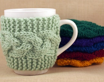 Honeydew Hand Knit Coffee Mug Cozy Cable Stitch