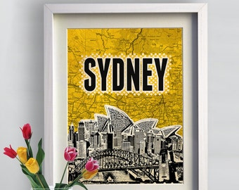 Print Sydney City typography Poster print Cityscape  Birthday Gift art on canvas Handmade Wall Decor  print