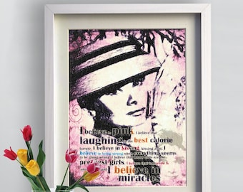 Print Audrey Hepburn Romance Classic canvas Vintage movie fine  Birthday Gift Art  Poster pink tones quotes from her life Wall Decor giclee
