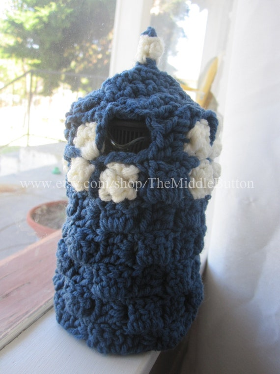 Tardis - French Press Cozy - Single Serve Size - In Blueberry and Antique White