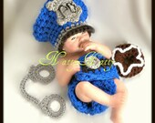Crochet Baby Police Man Hat and Diaper Cover Set with handcuffs and donut