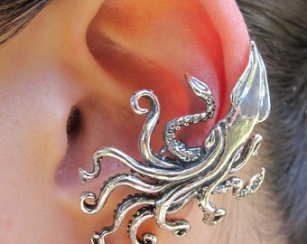 Kraken Squid Ear Cuff Silver Kraken Squid Jewelry Kraken Earring - Steampunk Jewelry Steampunk Earring Non-pierced Earring Tentacle Earring