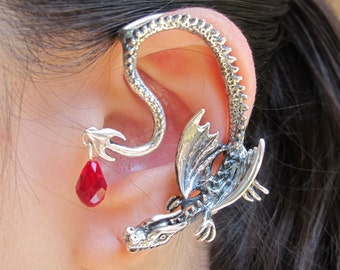 Game of Thrones Inspired Throne Dragon Ear Wrap with Briolette Drop Sterling Silver Dragon Jewelry Non Pierced Earrings Ear Wrap Ear Cuff