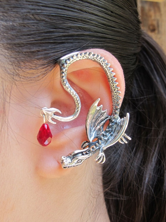 Game of thrones inspired throne dragon ear wrap with briolette - Game of thrones dragon ear cuff ...