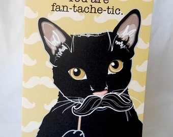 Black Cat 'n Mustache Greeting Card