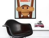 Poster Danish monkey Kay Bojesen print Mid century modern quote kitchen art retro nursery art - Let's Monkey Around 50 x 70 cm
