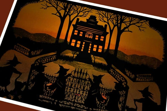 Halloween Witch Greeting Card        (  Mansion on a Hill)