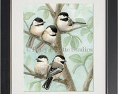 Bird Tree with Chickadees - archival watercolor print by Tracy Lizotte