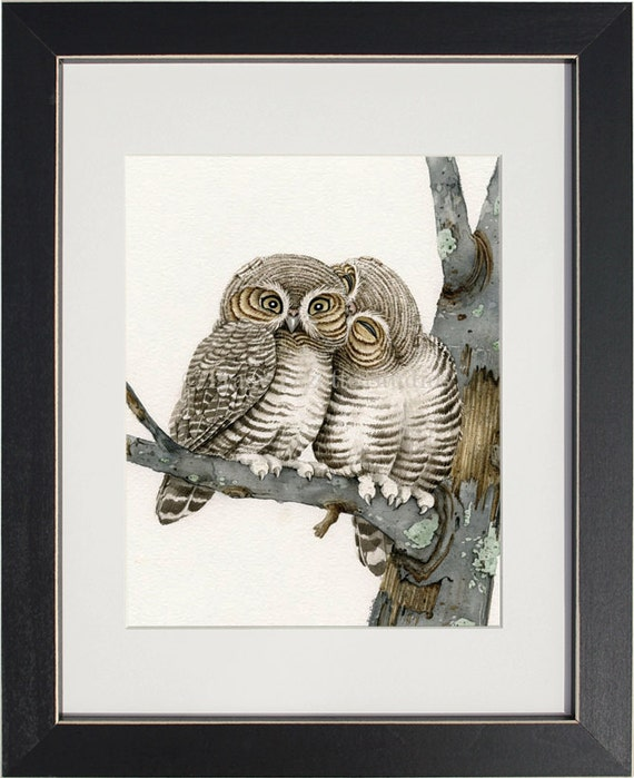 """Owl Smooches - 8""""x10"""" archival watercolor print by Tracy Lizotte"""