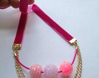 Handmade Pink Velvet Ribbon, Gold Chain, Pink Bead Necklace