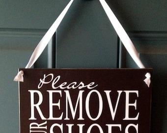 Please Remove Your Shoes door hanger - wood sign