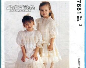 SALE McCalls 7681 Dress Slip Sewing Pattern Victorian Wedding Flower Girl  Size 2 Martha's Sewing Room UNCUT