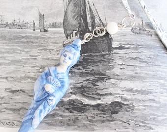 Bookmark Miniature Blue Asian Lady in a Kimono OOAK Ceramic Art Sculpture