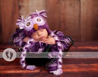 Items Similar To Baby Girl Owl Hat Newborn 0 3m 6m Fuzzy