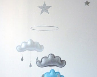"White,Grey,Light Blue cloud mobile for nursery ""OTOMO""  with silver star by The Butter Flying-Rain Cloud Mobile Nursery Children Decor"