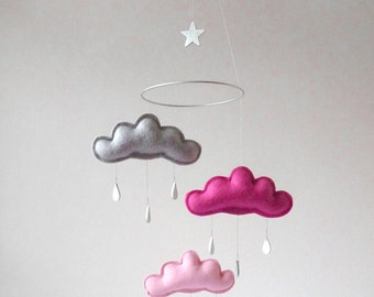 "Cloud mobile for nursery ""STELLA DREAM"" by The Butter Flying-Rain Cloud Mobile Nursery Children Decor"