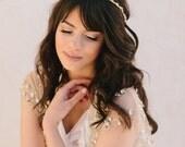Marni, Bridal Headband, Rhinestone, Beachy Bridal Headband, croal, gold bridal headpiece, gold headband, gold beaded headband, coral