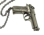 Silver Gun Necklace - Beretta Autoloading Pistol Hand Gun Pendant Necklace 116