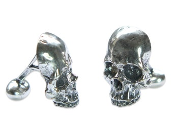 Silver Skull Cufflinks in Solid White Bronze with Sterling Overlay Half Skull Cuff Links Keith Richards Style 246