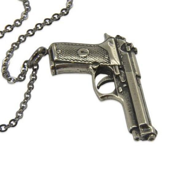 silver gun necklace beretta autoloading pistol gun