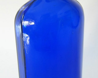 Vintage Blue Coral Cobalt Blue Glass Bottle Compackage Embossed Original Top 1950s Auto Wax Rare