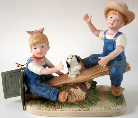 Homco Porcelain Figurine Denim Days Playtime Hand Painted