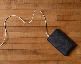 Simple iPhone Case - Grey Felt for iPhone 7, iPhone 7 Plus and iPhone SE - Made in the USA of 100% wool felt in Charcoal