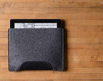 iPad Air Sleeve - Charcoal Felt and Black Leather