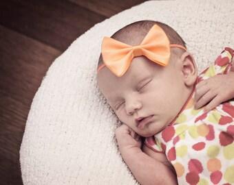 Peach Baby Bow Headband, Skinny Elastic Baby Headband, Apricot Satin Hair Bow Headband, Satin Tuxedo Bow, Pastel Orange, 60 colors