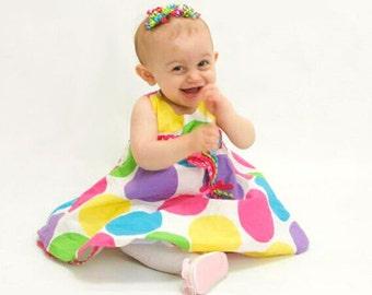 Neon Rainbow Korkers, Satin Korker Bows, Mini Korkers for Babies Toddler Girl, Korker Barrettes MTM Bonnie Jean Polka Dot Balloon Dress