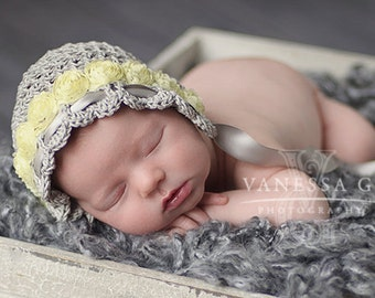 """Crocheted Mesh Lace Newborn Bonnet  """"Lorenza"""" with ribbon flowers and satin ribbon for portraits,christening, blessing, photo prop"""