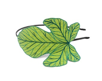 Fig Leaf Headband- Apple Green with Teal, Dark Teal-Green, and Dark Teal-Blue Embroidery